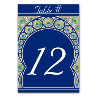 Art Nouveau Peacock Table Number Card