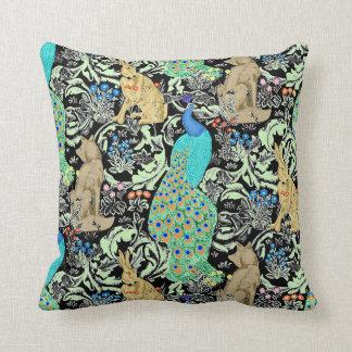Art Nouveau Peacock, Turquoise & Neutrals Throw Pillow