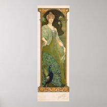 Art Nouveau Peacock Vintage Design Sonrel Poster