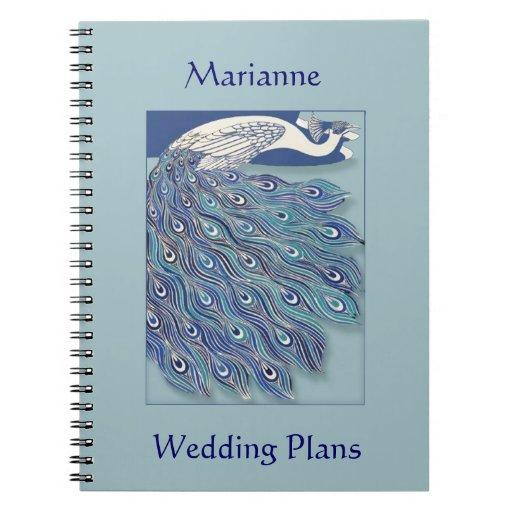 Art Nouveau Peacock Wedding Plan Notebook