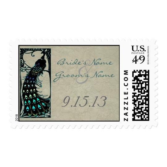Art Nouveau Peacock Wedding Stamps