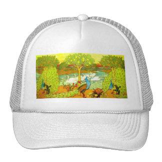 Art Nouveau Peacocks and Swans Mesh Hats