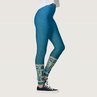Art Nouveau Peacocks border design Leggings