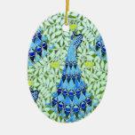 Art Nouveau Peacocks Double-Sided Oval Ceramic Christmas Ornament