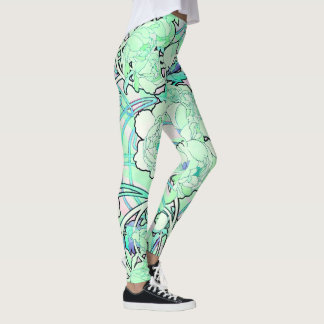 Art Nouveau Peony Flowers All Over Print Leggings