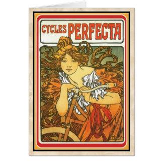 "Art Nouveau ~ ""Perfecta Cycles"" 1897Alphonse Mucha Card"