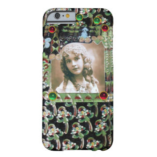ART NOUVEAU PHOTO TEMPLATE BLACK GREEN RED GEMS BARELY THERE iPhone 6 CASE