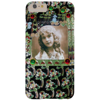 ART NOUVEAU PHOTO TEMPLATE BLACK GREEN RED GEMS BARELY THERE iPhone 6 PLUS CASE