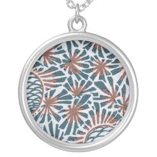 art nouveau pine cones nature pattern round pendant necklace