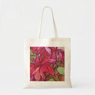 Art Nouveau Poinsettia Christmas Holiday Tote Bag