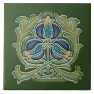 Art Nouveau Pomegranate Repro Tile Blues & Greens