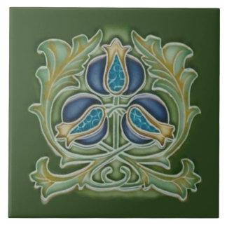 Art Nouveau Pomegranate Repro Tile Blues & Greens