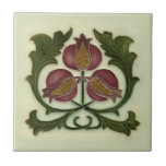 """Art Nouveau Pomegranate Reproduction Antique Tile<br><div class=""""desc"""">The Art Nouveau style began in the last decade of the 19th century and lasted until WWI. Art Nouveau is,  in many ways,  an outgrowth of the Arts & Crafts movement. Art Nouveau tiles feature stylized designs with flowing curves based on natural forms.</div>"""