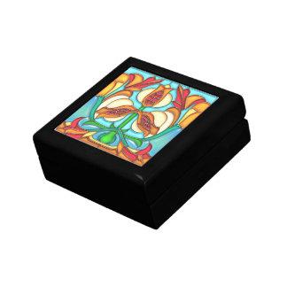 Art Nouveau Pomegranates Stained Glass Jewelry Box