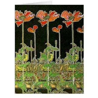 Art Nouveau Poppies 1901 Card