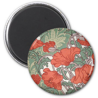 Art Nouveau Poppies 2 Inch Round Magnet
