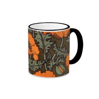 Art Nouveau Poppies Ringer Coffee Mug