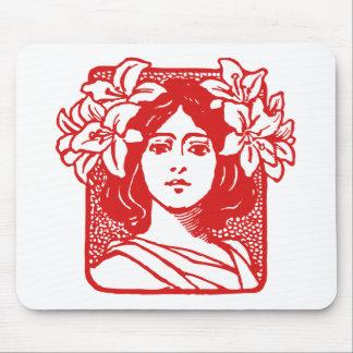 Art Nouveau Portrait of Woman with Lilies Mouse Pad