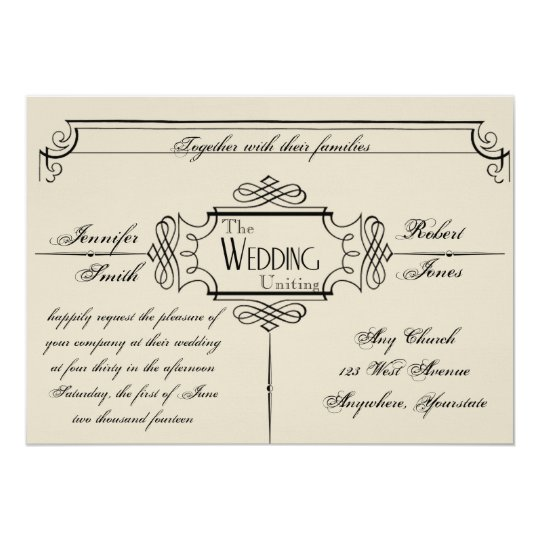 Art Nouveau Posh Wedding Invitation