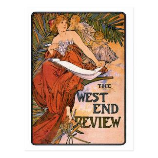 Art Nouveau Postcard:   Mucha - West End Review Postcard