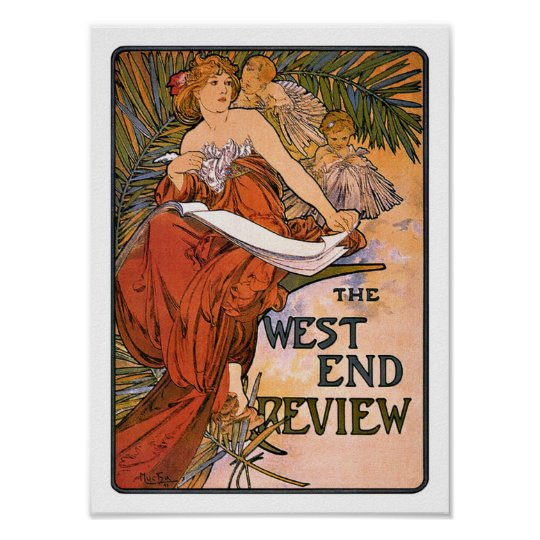 Art Nouveau Poster:  Mucha - West End Review Poster