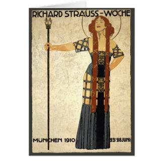 Art Nouveau Poster Richard Strauss Woche, München Greeting Cards
