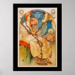 "Art Nouveau Poster ""Slavanska""-Alfons Mucha 1928"