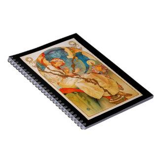 """Art Nouveau Poster """"Slavanska""""-Mucha Notebook"""