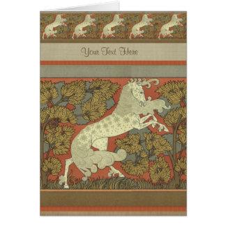 Art Nouveau Prancing Horse - Customize Greeting Card
