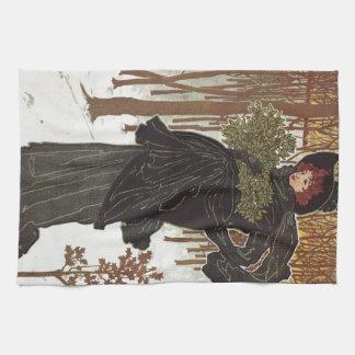 Art Nouveau Print, Lady of the Forest Towels