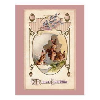 Art Nouveau Rabbits in Giant Easter Egg Postcard