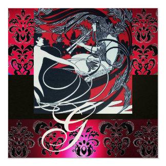 ART NOUVEAU RED BLACK CHAMPAGNE DAMASK MONOGRAM CARD