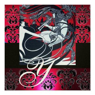ART NOUVEAU RED BLACK GOLD DAMASK MONOGRAM ,ruby Card