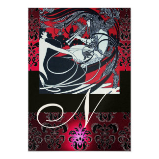 "ART NOUVEAU RED BLACK GOLD DAMASK MONOGRAM ,ruby 5"" X 7"" Invitation Card"