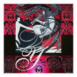ART NOUVEAU RED BLACK GOLD DAMASK MONOGRAM ,ruby Announcement