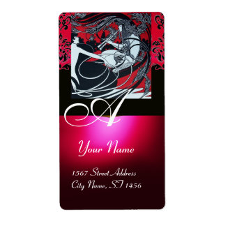 ART NOUVEAU RED BLACK GOLD DAMASK MONOGRAM ,ruby Personalized Shipping Label