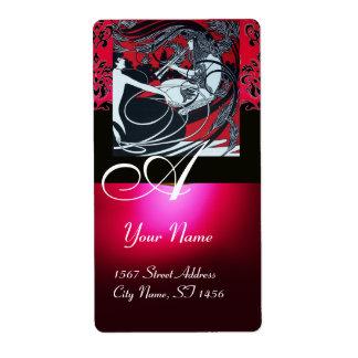 ART NOUVEAU RED BLACK GOLD DAMASK MONOGRAM ,ruby Label