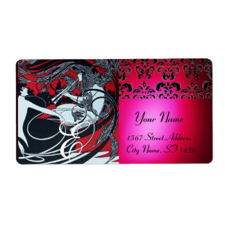 ART NOUVEAU RED BLACK GOLD DAMASK MONOGRAM ,ruby Shipping Labels