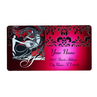ART NOUVEAU RED BLACK GOLD DAMASK MONOGRAM ,ruby Personalized Shipping Labels
