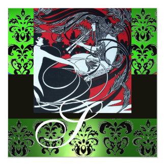 ART NOUVEAU RED BLACK GREEN WHITE DAMASK MONOGRAM CARD