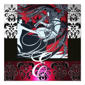 ART NOUVEAU RED BLACK GREY SILVER DAMASK MONOGRAM CARD