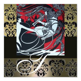 ART NOUVEAU RED BLACK GREY WHITE DAMASK MONOGRAM CARD
