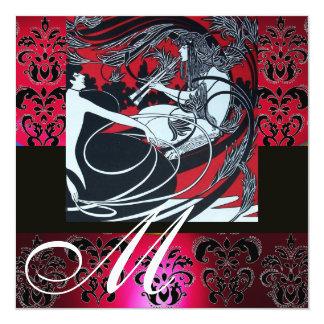 ART NOUVEAU RED BLACK WHITE DAMASK MONOGRAM ,ruby Custom Invites