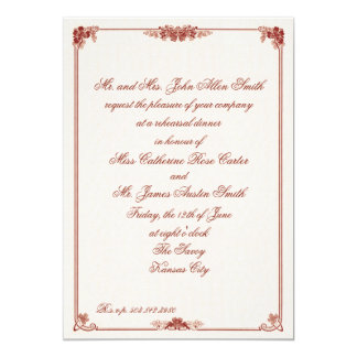 Art Nouveau Red Bordered Rehearsal Dinner Card