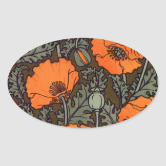 Art Nouveau Red Poppies Oval Stickers