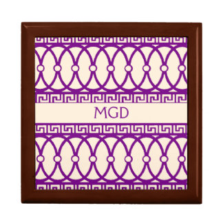 Art nouveau repeating magenta pattern & monogram gift box