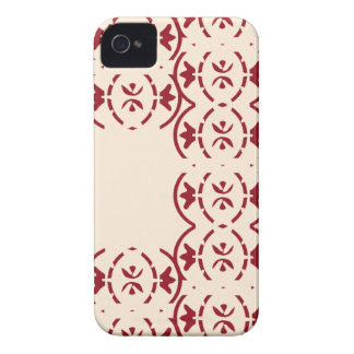 Art nouveau repeating red pattern on antique white Case-Mate iPhone 4 case
