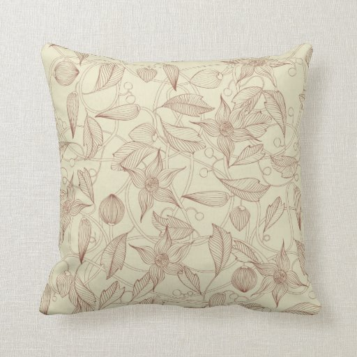 Art Nouveau Retro floral pattern Throw Pillows