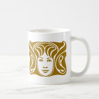 Art Nouveau Roman goddess female face amber Classic White Coffee Mug