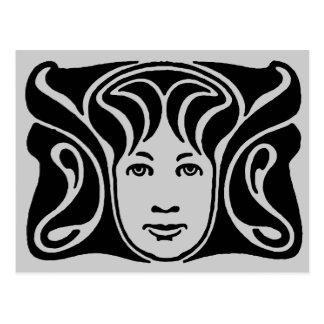 Art Nouveau Roman goddess female face black Postcard